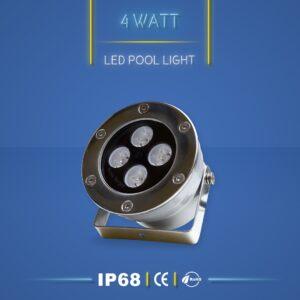 چراغ آبنما 4 وات یا چراغ استخری 4 وات تولید شده توسط شرکت نورنگار اسپادانا. این چراغ دارای استاندارد ضد آب IP68 است.