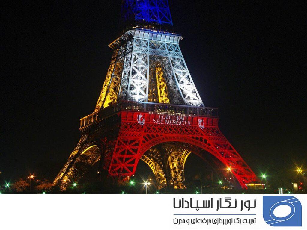 پرچم فرانسه نورپردازی برج ایفل